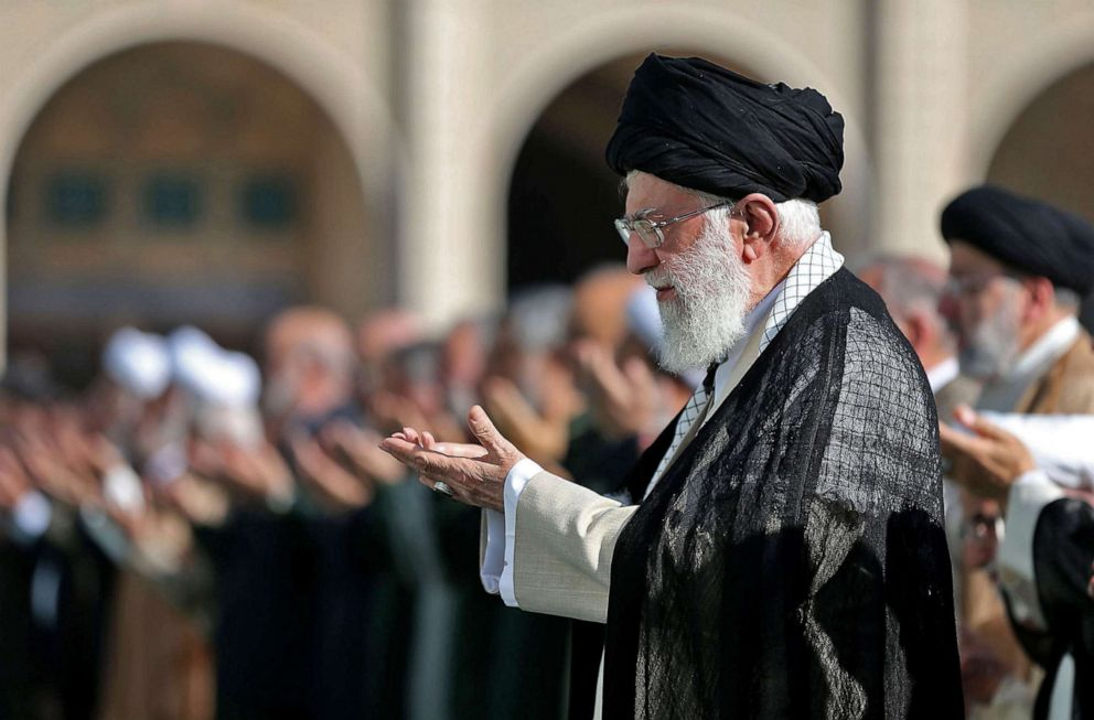PHOTO: A handout picture provided by the Iranian supreme leader office on June 5, 2019, shows the Ayatollah Ali Khamenei, leading the Eid al-Fitr prayer at the Imam Khomeini Mausoleum in Tehran to mark the end of the Muslim fasting month of Ramadan.