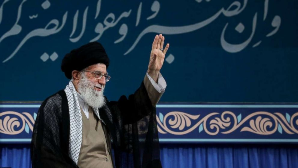 Iran's Supreme Leader Ayatollah Ali Khamenei is seen at the Hussayniyeh of Imam Khomeini in Tehran, Iran, Aug. 13, 2018.