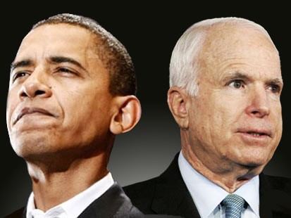 Graphic pic image of Sen. Barack Obama and John McCain back-to-back as the contenders square off in the 2008 presidential race.