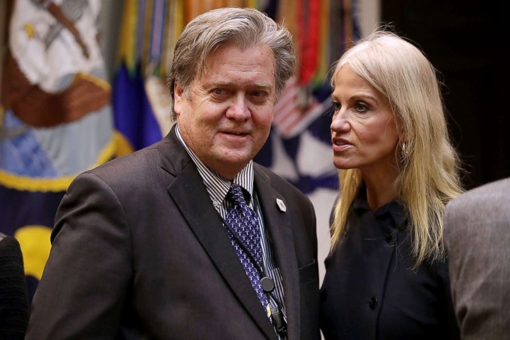PHOTO: Steve Bannon and Kellyanne Conway wait for the arrival of President Donald Trump for a meeting on cyber security in the Roosevelt Room at the White House, Jan. 31, 2017.