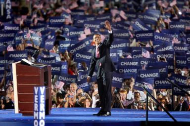 PHOTO: Barack Obama waves to the more than 70,000 people that gathered to hear him accept the Democratic Party nomination on Aug. 28, 2008 at Invesco Field in Denver, Colo.