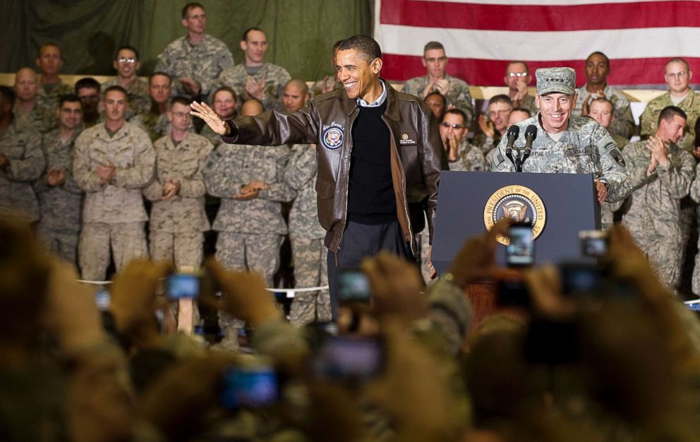 PHOTO: General David Petraeus introduces President Barack Obama at Bagram Air Base in Afghanistan, Dec. 3, 2010 during the presidents surprise visit for the holidays.