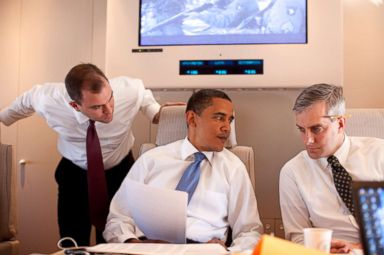 PHOTO: In this photo provided by The White House, President Barack Obama meets with Deputy National Security Adviser for Strategic Communications Denis McDonough (R) and speechwriter Ben Rhodes on Air Force One, June 4, 2009 on route to Cairo, Egypt.
