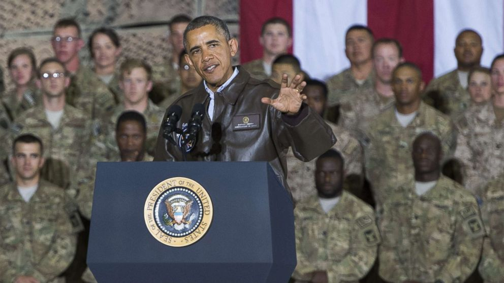 President Barack Obama speaks during a surprise visit with U.S. troops at Bagram Air Field, north of Kabul, in Afghanistan, May 25, 2014, prior to the Memorial Day holiday.