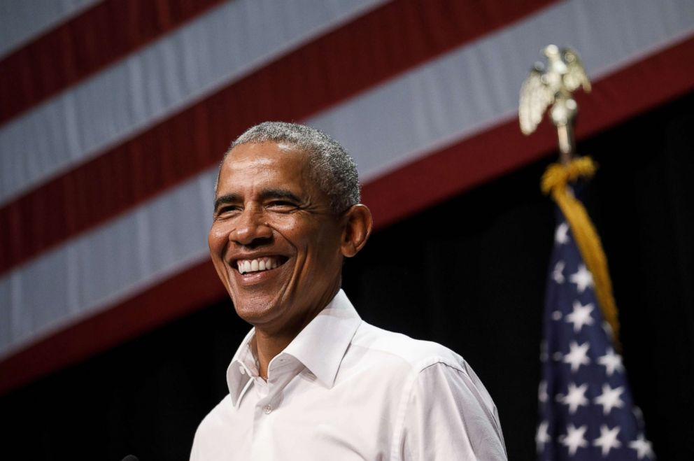 PHOTO: Former President Barack Obama smiles during a campaign rally in Anaheim, Calif., Sept. 8, 2018.