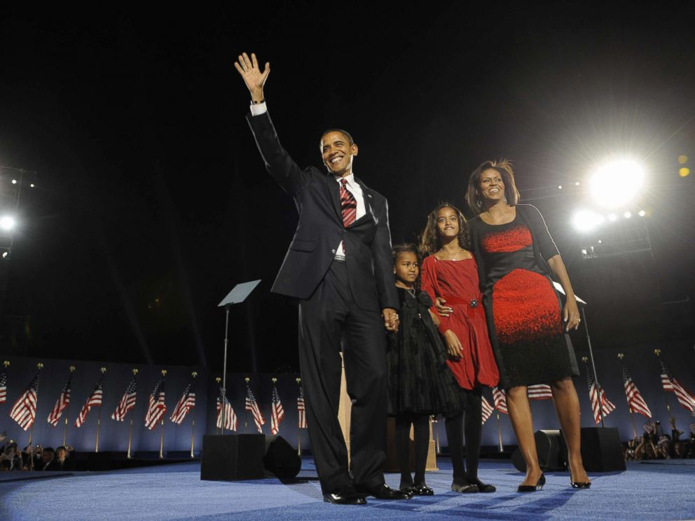 PHOTO: Democratic presidential candidate Barack Obama and his family arrive on stage for his election night victory rally at Grant Park, Nov. 4, 2008 in Chicago.