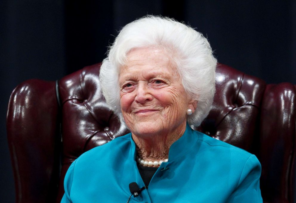 PHOTO: Former U.S. First Lady Barbara Bush discusses her White House experience during a day-long symposium titled Americas First Ladies-An Enduring Legacy at the George Bush Presidential Library Center at Texas A&M, Nov. 14, 2011.