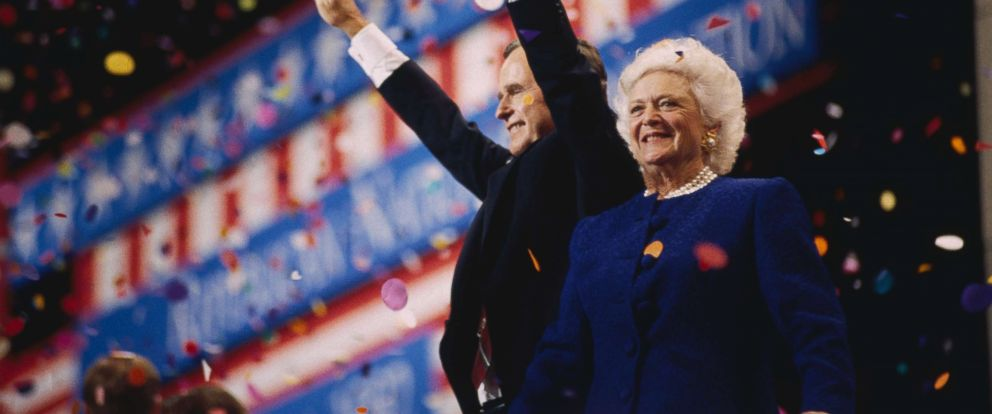 PHOTO: President George Bush and First Lady Barbara attend the 1992 Republican National Convention in Houston, Texas. Bush, the GOP nominee for president, lost his second bid for office to democrat Bill Clinton.