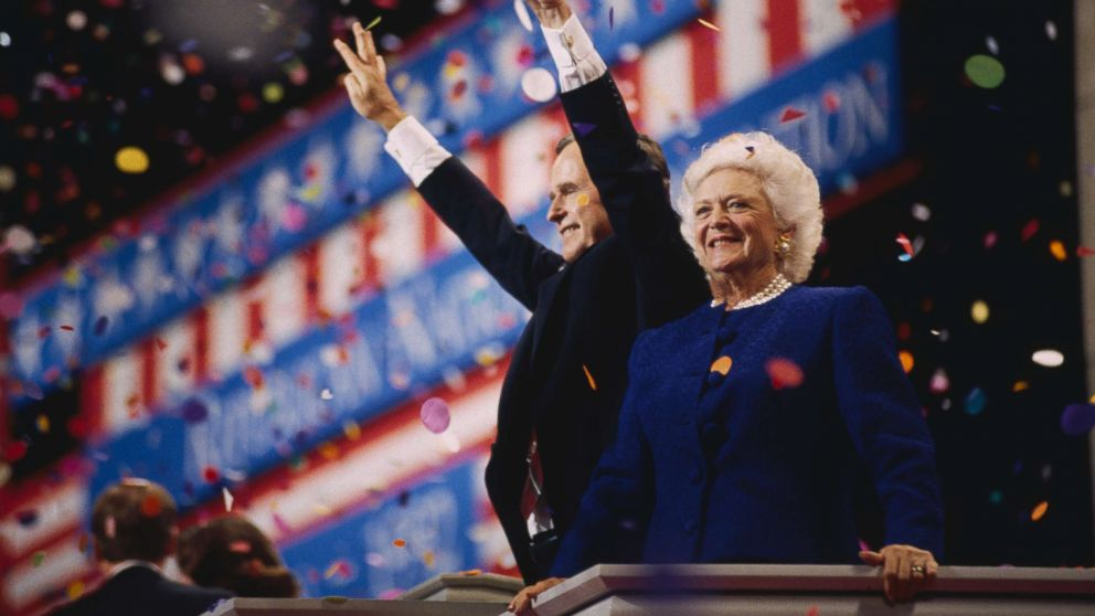 President George Bush and First Lady Barbara attend the 1992 Republican National Convention in Houston, Texas. Bush, the GOP nominee for president, lost his second bid for office to democrat Bill Clinton.