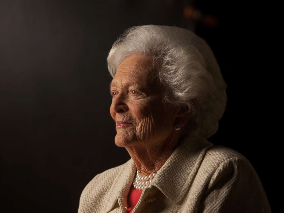 PHOTO: Former First Lady Barbara Bush is interviewed for The Presidents Gatekeepers project about the White House Chiefs of Staff at the Bush Library, Oct. 24, 2011, in College Station, Texas.