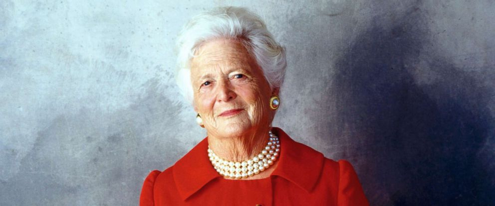 PHOTO: Former First Lady Barbara Bush poses for a portrait on Aug. 23, 2001, in Houston.