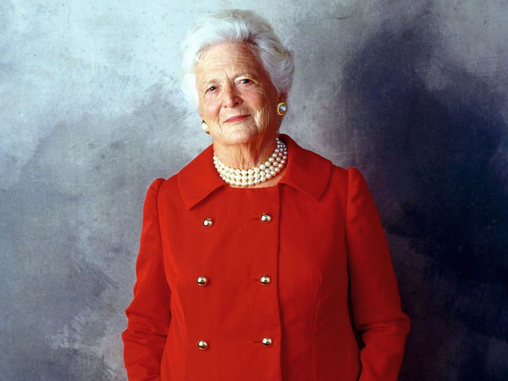 PHOTO: Former First Lady Barbara Bush poses for a portrait on Aug. 23, 2001 in Houston.