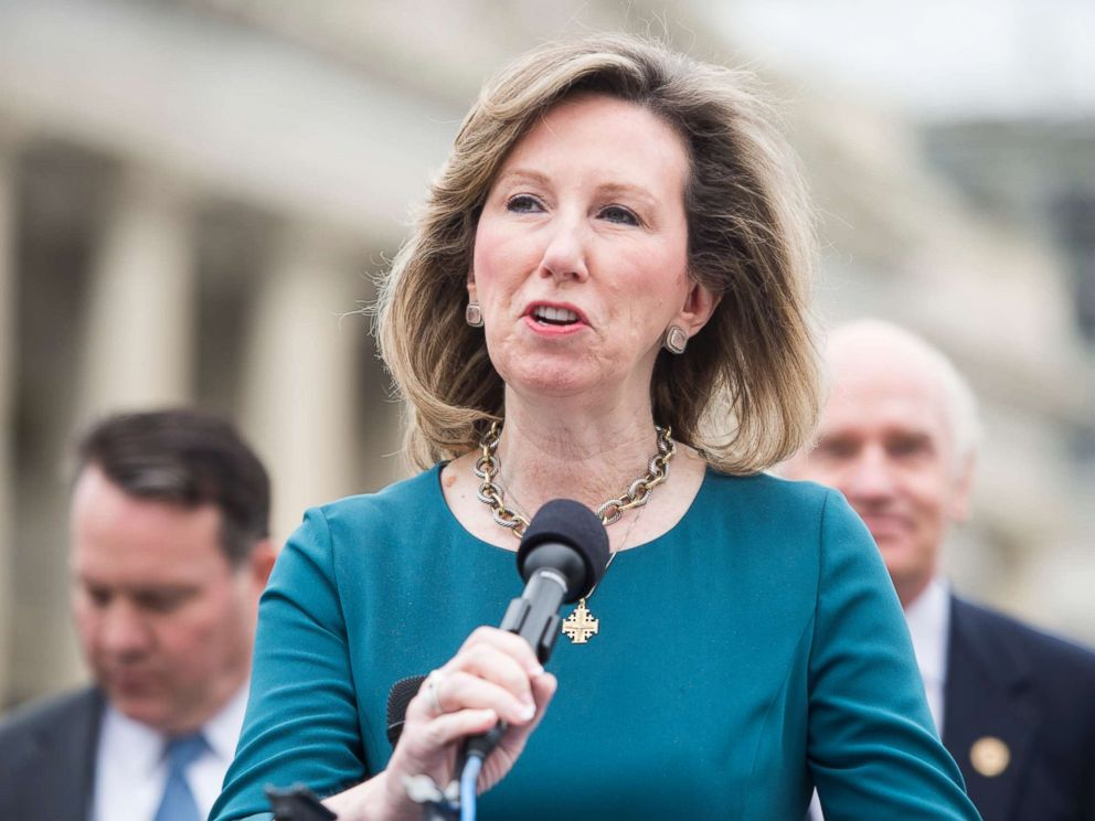 PHOTO: Rep. Barbara Comstock speaks during the news conference at the Capitol with other members of the Heroin Task Force on combating heroin abuse on April 21, 2016.