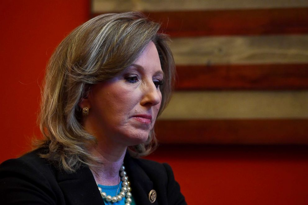 PHOTO: Congresswoman Barbara Comstock talks in her office in the Cannon building Nov. 28, 2017 in Washingto