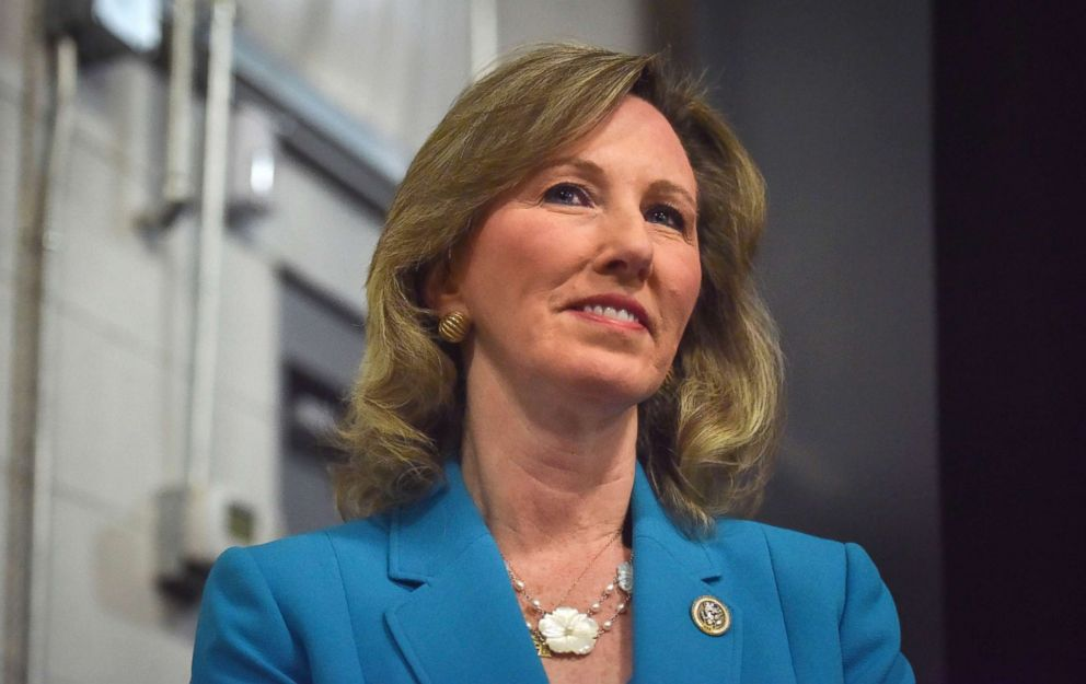 Rep. Barbara Comstock attends a rally, Oct. 30, 2017, in Sterling, Va.