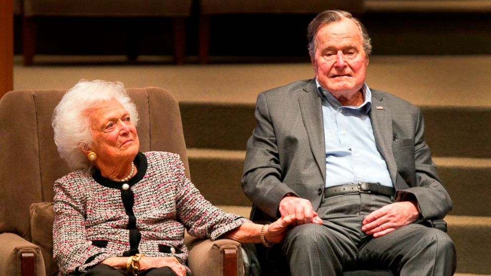 In this March 8, 2017, file photo, the Mensch International Foundation presented its annual Mensch Award to former U.S. President George H.W. Bush and former first lady Barbara Bush at an awards ceremony hosted by Congregation Beth Israel in Houston.