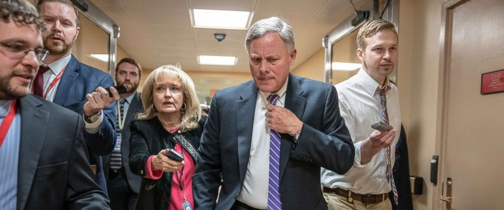 PHOTO: Senate Intelligence Committee Chairman Richard Burr, R-N.C., walks to the Senate as reporters ask about reports that his panels investigation of a conspiracy between President Donald Trumps campaign and Russia, at the Capitol, Feb. 12, 2019.