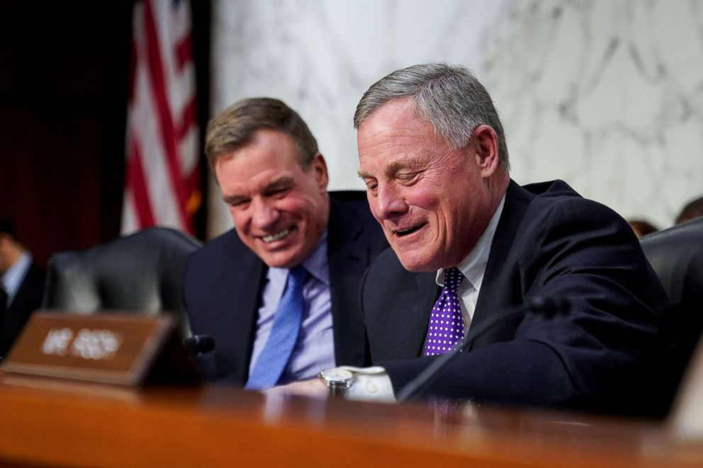 """Chairman of the Senate Intelligence Committee Richard Burr (R-NC) and vice-chairman Mark Warner (D-VA) prepare for a hearing about """"worldwide threats"""" on Capitol Hill, Jan. 29, 2019."""