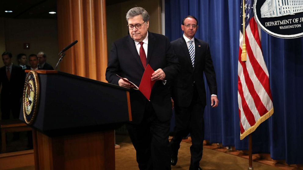 U.S. Attorney General William Barr and U.S. Deputy Attorney General Rod Rosenstein arrive to speak about the release of the redacted version of the Mueller report at the Department of Justice, April 18, 2019 in Washington, D.C.