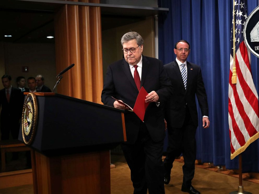 PHOTO: U.S. Attorney General William Barr and U.S. Deputy Attorney General Rod Rosenstein arrive to speak about the release of the redacted version of the Mueller report at the Department of Justice, April 18, 2019 in Washington, D.C.