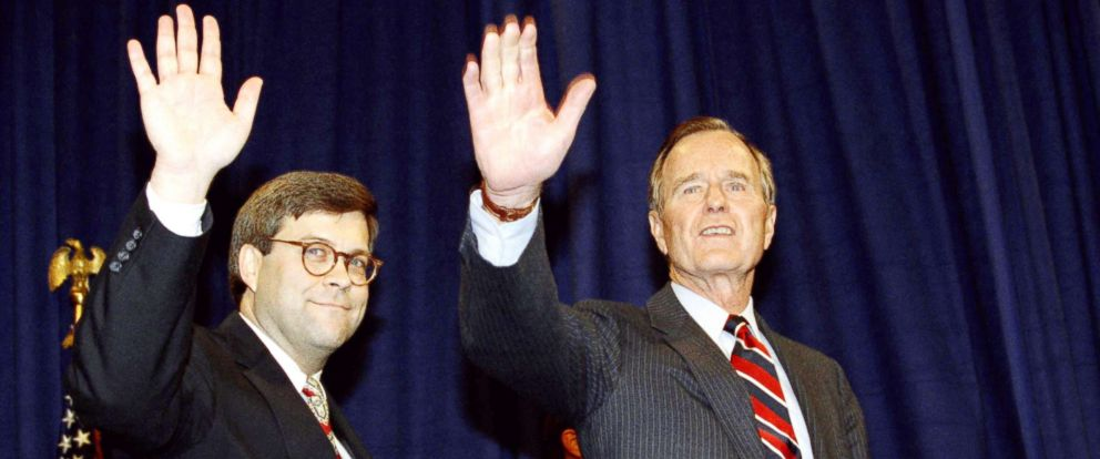 PHOTO: President George H. Bush, right, and William Barr wave after Barr was sworn in as the new Attorney General, Nov. 26, 1991, at a Justice Department ceremony in Washington.