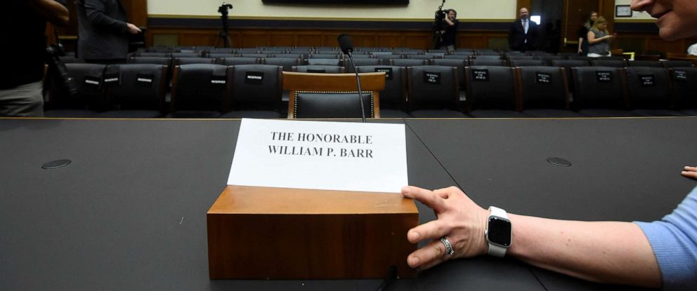 PHOTO: U.S. Attorney General Barrs chair sits empty at a House Judiciary Committee hearing on the Justice Departments investigation of Russian interference with the 2016 presidential election on Capitol Hill in Washington, May 2, 2019.