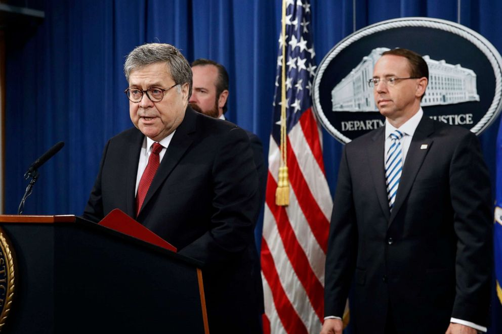 PHOTO: Attorney General William Barr speaks alongside Deputy Attorney General Rod Rosenstein, right, and Deputy Attorney General Ed OCallaghan about the release of special counsel Robert Muellers report, in Washington, D.C., April 18, 2019.