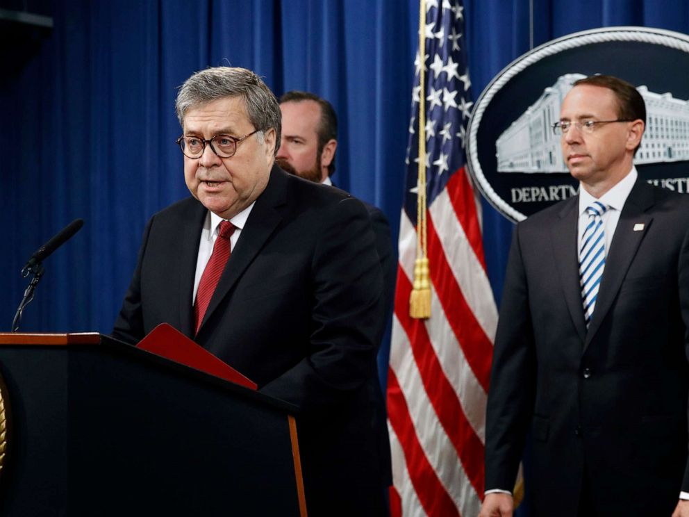 PHOTO: Attorney General William Barr speaks about the release of a redacted version of special counsel Robert Muellers report during a news conference, April 18, 2019, at the Department of Justice in Washington, D.C.