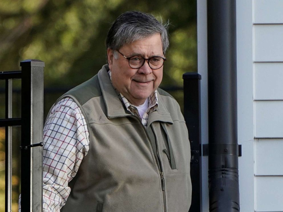 PHOTO: Attorney General William Barr leaves his house in McClean, Va., March 24, 2019.