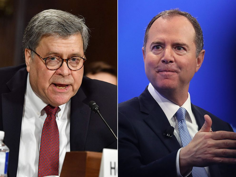 PHOTO: Attorney General William Barr testifies before the Senate Judiciary Committee on Capitol Hill, May 1,2019. House Intelligence Committee Chairman Rep. Adam Schiff (R) (D-CA) answers questions, April 30, 2019, in Washington, D.C.