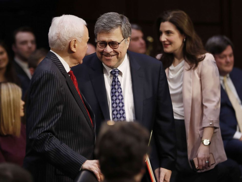 PHOTO: Former US Attorney General William Barr, right, is greeted by Republican Senator Orrin Hatch of Utah, left, as he arrives to the confirmation hearing in Washington, D.C. Jan. 15, 2019.