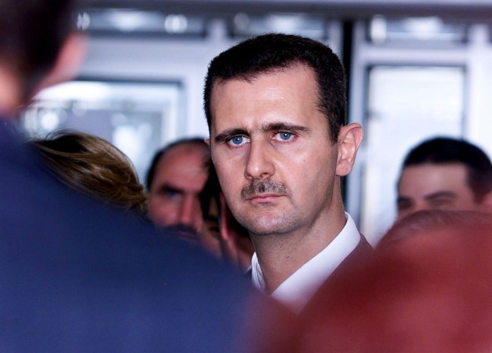 Syrian President Bashar al-Assad is seen during his visit at the Arab World Institute in Paris, June 26, 2001.