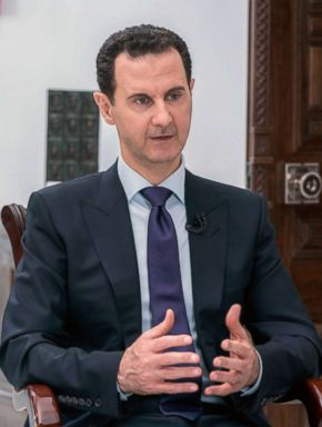 PHOTO: Syrian President Bashar al-Assad is pictured during an interview with a journalist from Russia Today in the Damascus, in a handout picture released by the official Telegram page of the Syrian Presidency on May 31, 2018.