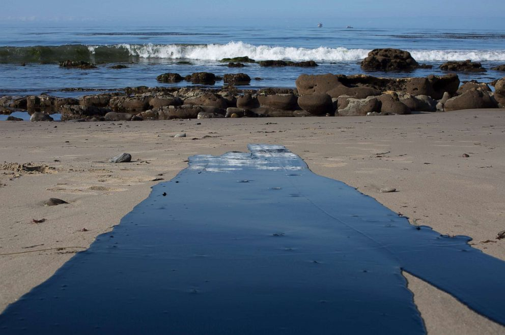 PHOTO: Oil flows toward the ocean from an inland oil spill near Refugio State Beach on May 20, 2015 north of Goleta, Calif. About 21,000 gallons spilled from an abandoned pipeline near Refugio State Beach, spreading over four miles within hours.