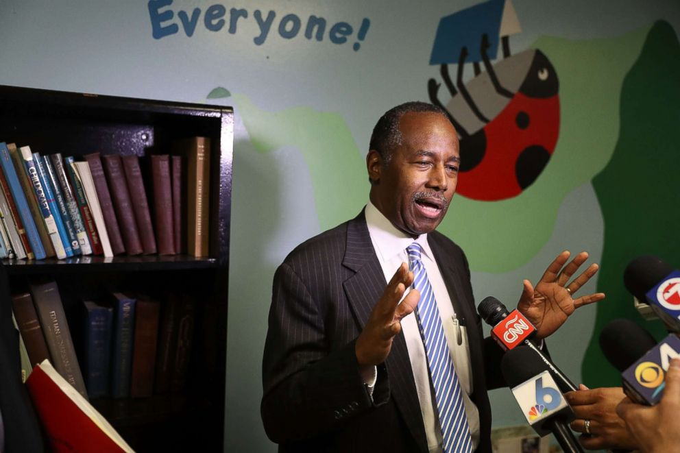 PHOTO: Housing and Urban Development Secretary Ben Carson speaks to the media during a visit to the Liberty Square apartment complex on April 12, 2017, in Miami.