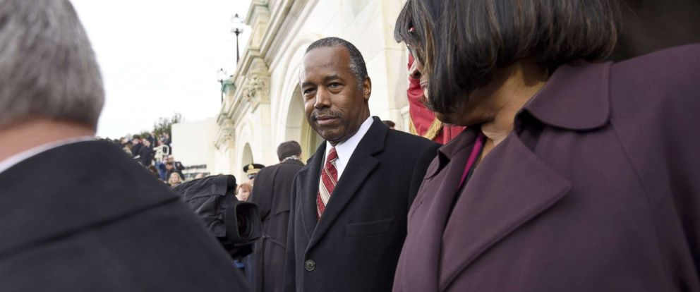 PHOTO: U.S. Housing and Urban Development Secretary nominee Dr. Ben Carson arrives for the Presidential Inauguration of Donald Trump, Jan. 20, 2017, at the U.S. Capitol in Washington, DC.