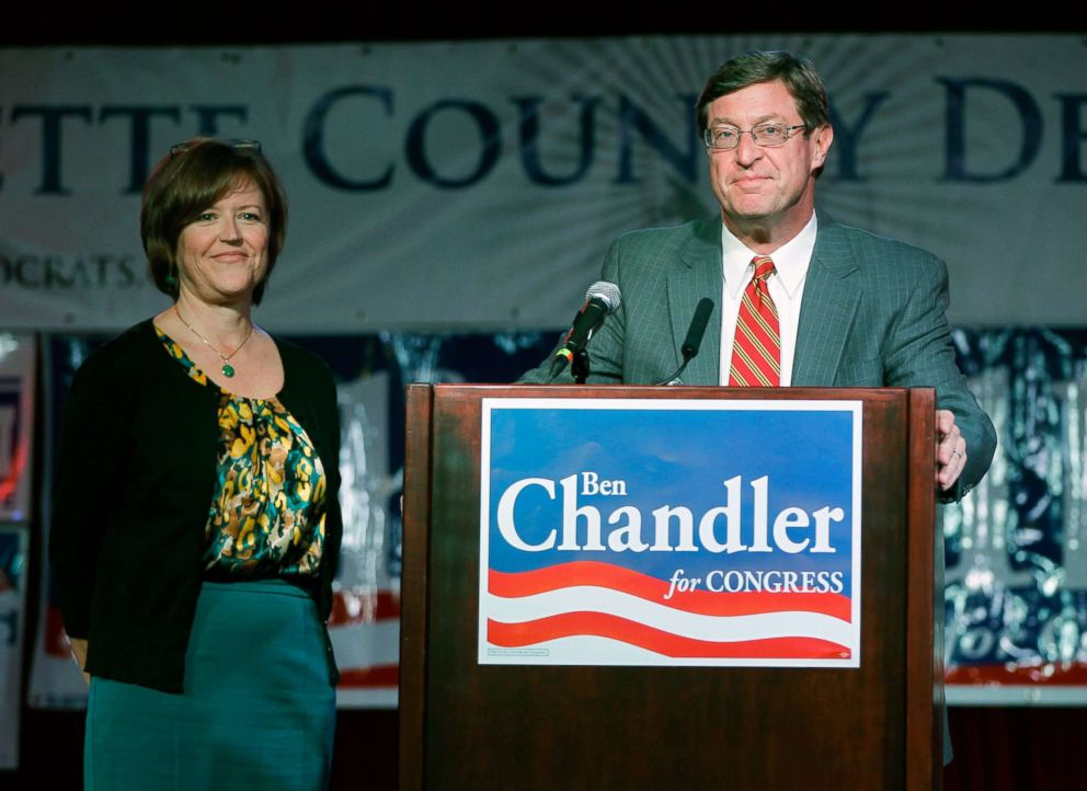 PHOTO: Congressman Ben Chandler, with his wife Jennifer at his side, gives his concession speech on Tuesday, November 6, 2012 in Lexington, Ky.