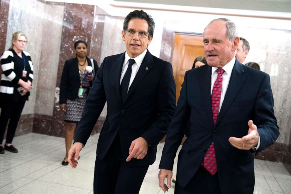 PHOTO: Ben Stiller, left, goodwill ambassador for United Nations Human Rights Council, and Chairman James Risch, are seen in Dirksen Building before a Senate Foreign Relations Committee hearing on Wednesday, May 1, 2019.