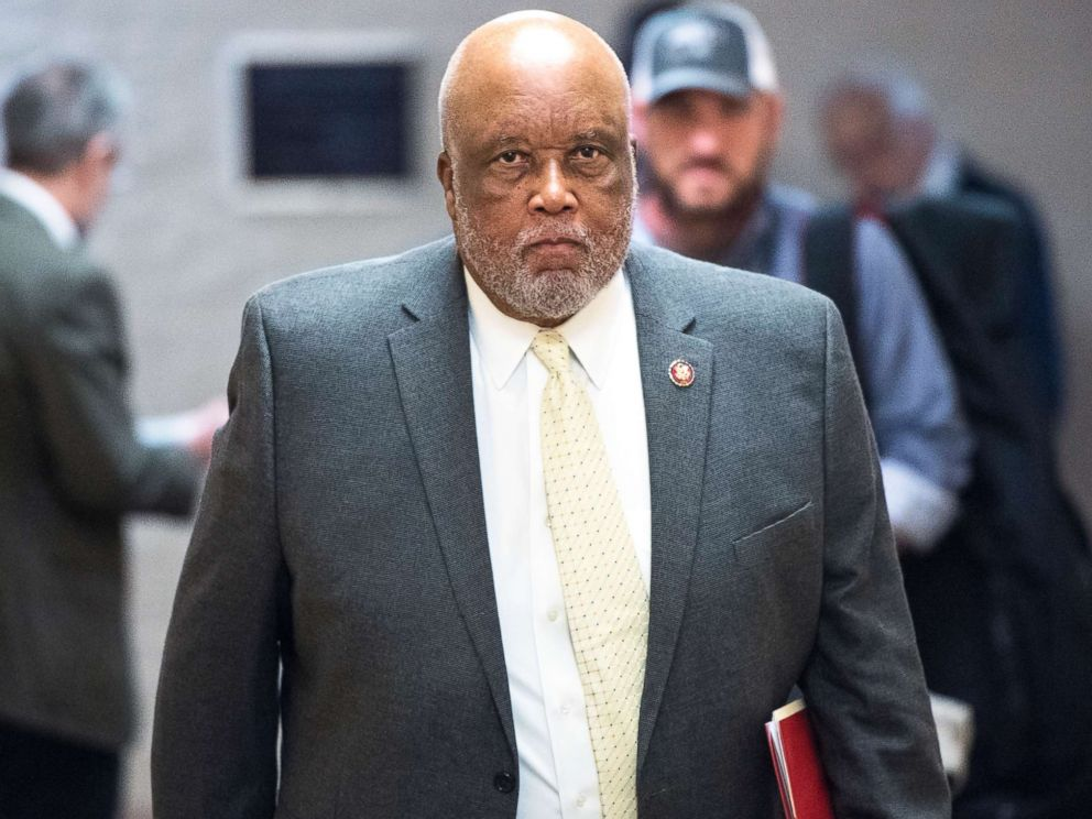 PHOTO: Rep. Bennie Thompson leaves the House Democrats caucus meeting in the Capitol in Washington, on Jan. 4, 2019.