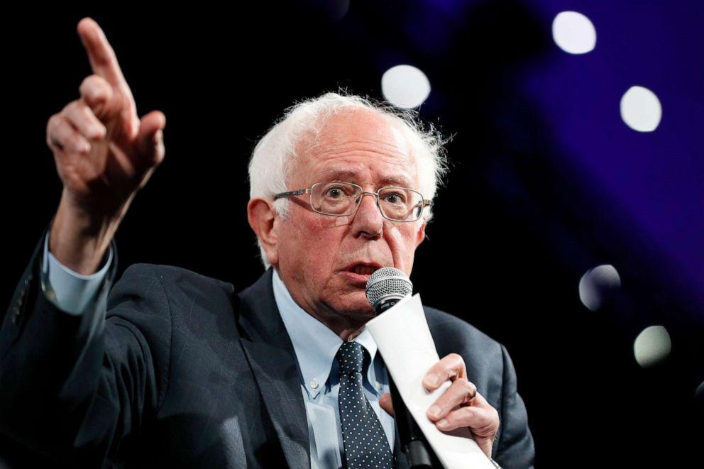 PHOTO:Democratic presidential candidate Sen. Bernie Sanders speaks at the Presidential Gun Sense Forum, Saturday, Aug. 10, 2019, in Des Moines, Iowa.