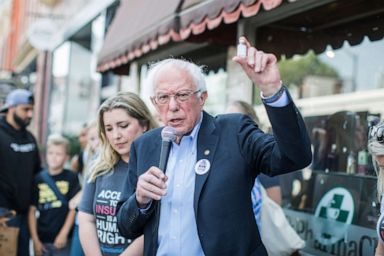 PHOTO: Democratic presidential candidate, Sen. Bernie Sanders (D-VT) talks about the cost of insulin in the USA versus Canada as he joins a group of people with diabetes on a trip to Canada for affordable Insulin, July 28, 2019, in Windsor, Canada.
