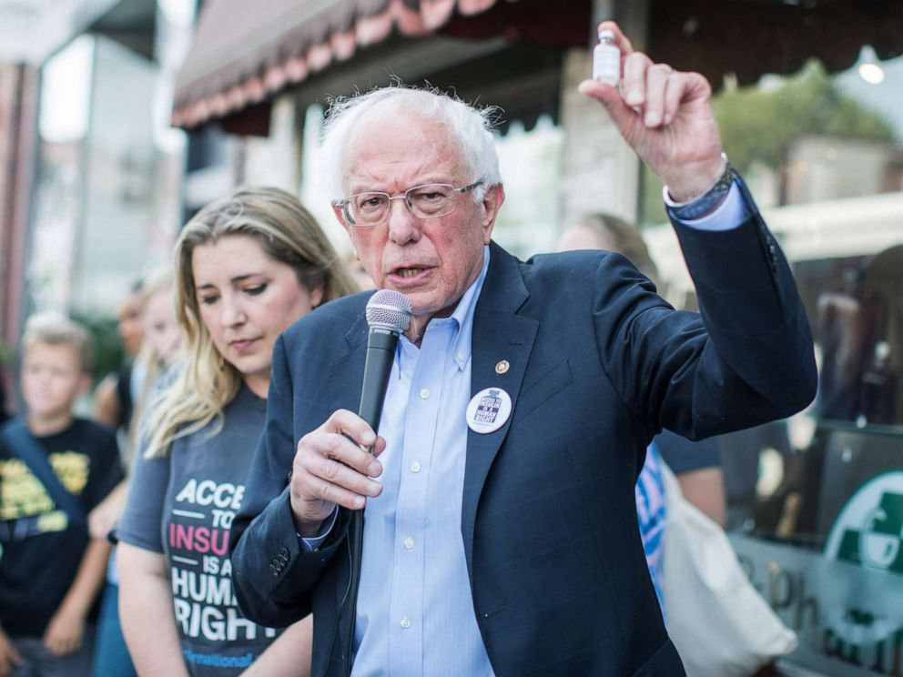 PHOTO:Democratic presidential candidate, Sen. Bernie Sanders (D-VT) talks about the cost of insulin in the USA versus Canada as he joins a group of people with diabetes on a trip to Canada for affordable Insulin, July 28, 2019, in Windsor, Canada.