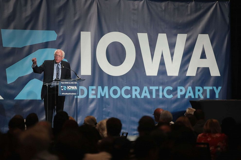 PHOTO: Democratic presidential candidate Senator Bernie Sanders (I-VT) speaks at the Iowa Democratic Partys Hall of Fame Dinner, June 9, 2019, in Cedar Rapids, Iowa.