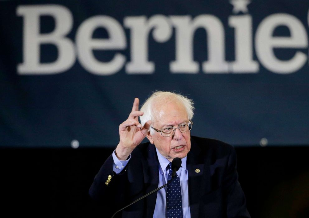 PHOTO: Democratic presidential candidate Sen. Bernie Sanders addresses a rally during a campaign stop in Concord, N.H, March 10, 2019.