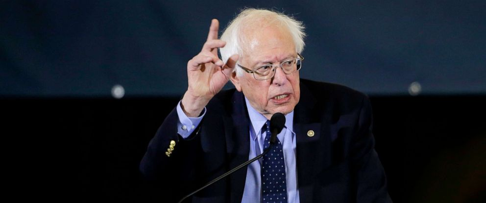 Democratic presidential candidate Sen. Bernie Sanders addresses a rally during a campaign stop in Concord, N.H, March 10, 2019.