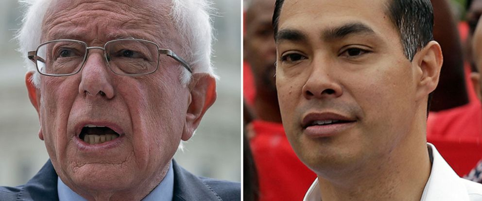 PHOTO: Democratic presidential candidate, Sen. Bernie Sanders, I-Vt., speaks at the Capitol, May 22, 2019. Presidential candidate Julian Castro rallies with McDonalds employees in Durham, N.C., May 23, 2019.