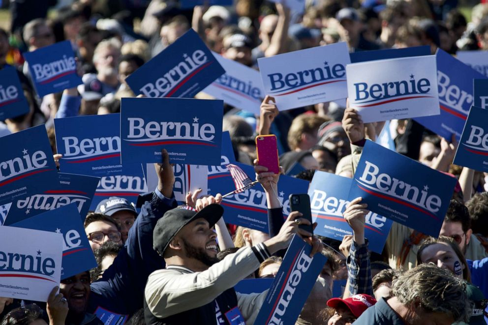 PHOTO: Supporters arrive to attend the Bernies Back rally in Queens, NY, on Oct.19, 2019.