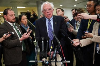 PHOTO: Bernie Sanders(I-VT) speaks to reporters at the Capitol, Nov, 28, 2018.