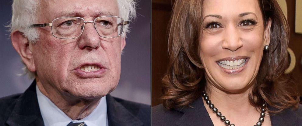 PHOTO: Sen. Bernie Sanders speaks in Washington, D.C., Dec. 13, 2018.|Sen. Kamala Harris attends an event on Jan. 13, 2019, in Los Angeles.