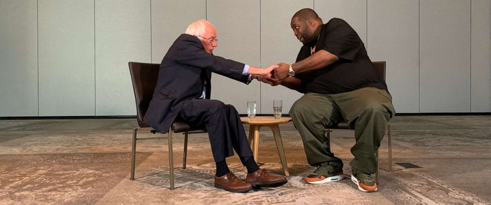 """PHOTO: Sen. Bernie Sanders, I-Vt., and rapper Michael """"Killer Mike"""" Render met at the Renaissance Marriott in Atlanta on Saturday, Aug. 17, 2019, to discuss campaign issues."""